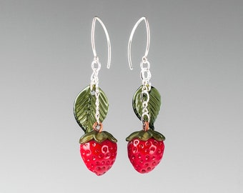 Glass Strawberry Earrings on sterling silver or gold-filled, hand blown glass art, nature inspired jewelry by GlassBerries