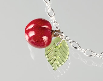 Glass Cherry Charm Bracelet on sterling  silver or gold-filled, hand blown glass art, nature inspired jewelry by GlassBerries