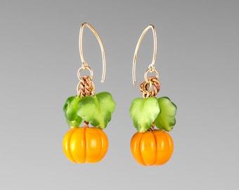 Glass Pumpkin Earrings on sterling silver or gold-filled, hand blown glass art jewelry by GlassBerries