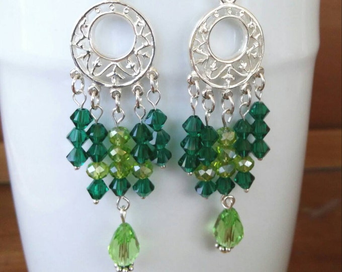 Swarovski Chandelier Crystal Earrings, Long Wedding Crystal Earrings, Elegant Green Dangle Earrings, May Emerald birthstone earrings