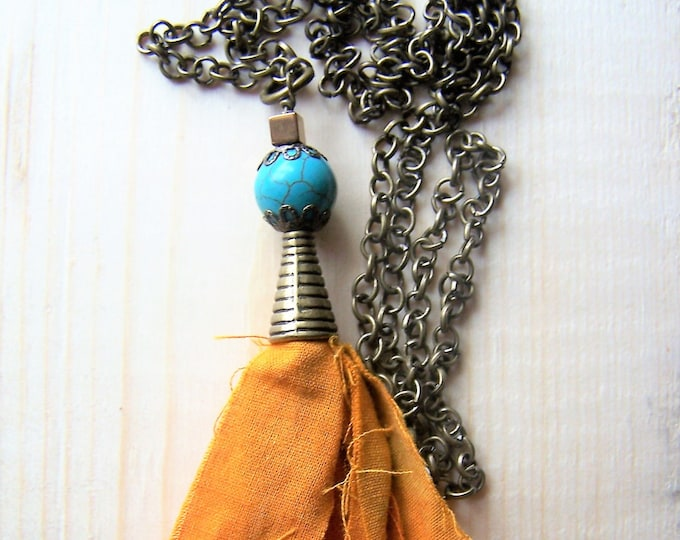 Long boho tassel pendant necklace, long layering tassel necklace, long boho pendant necklace, boho beaded necklace, boho tassel jewelry