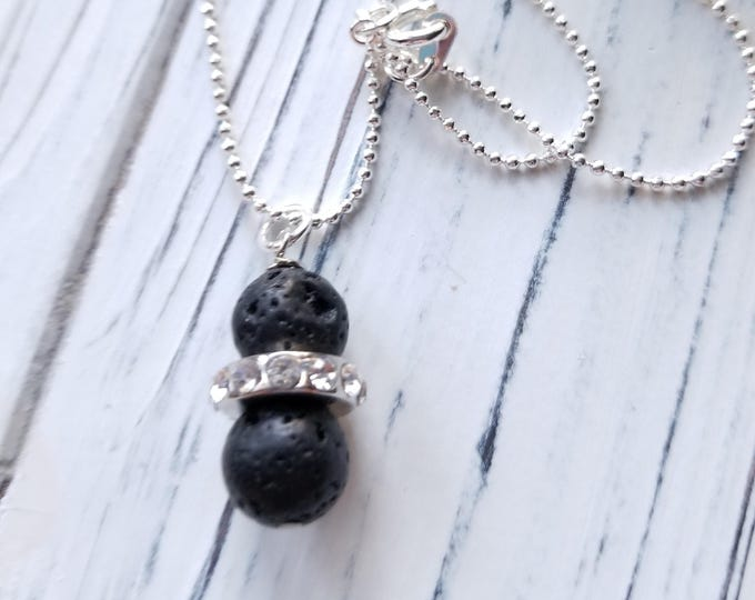 Lava rock diffuser essential oil pendant, healing stone pendant silver necklace, lava stone aromatherapy necklace, last minute gift idea