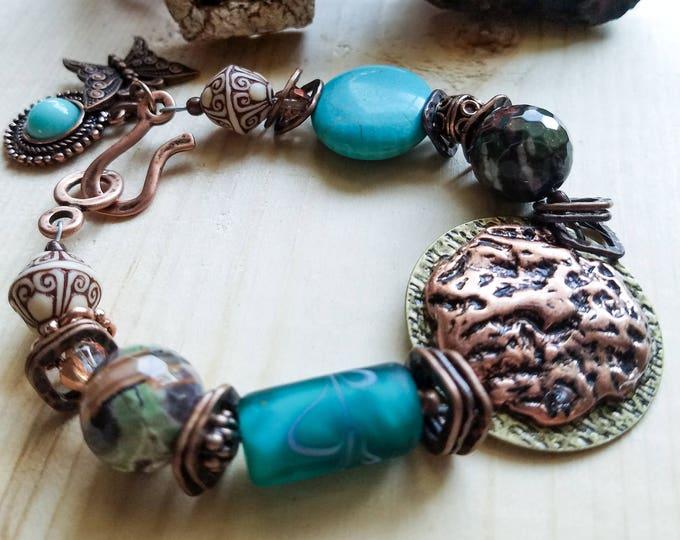 Boho turquoise and copper bracelet, Unique rustic brass bracelet, Butterfly charm bracelet, Statement Piece Southwest, last minute gift idea