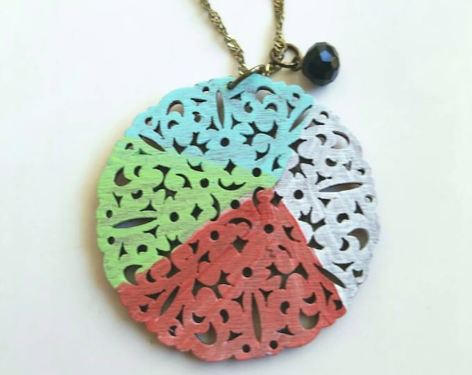 geometric pendant, painted pendant, boho pendant, filigree pendant, wood necklace, laser cut pendant, wood jewelry, filigree wood