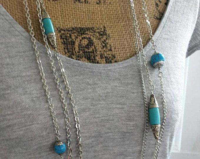 Southwestern turquoise bead necklace, boho long silver chain tibetan necklace, long turquoise bead and chain necklace, multi chain necklace