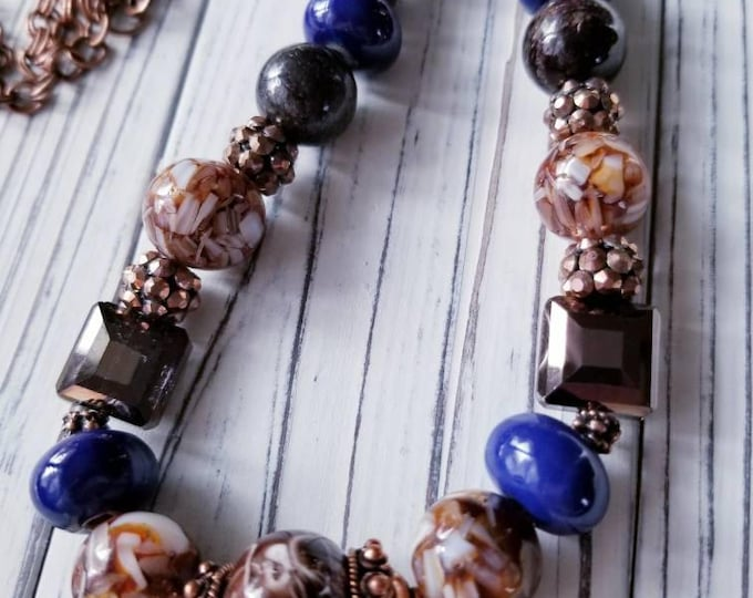 Chunky Boho bead necklace, brown gemstone necklace, Bronzite stone necklace, Earthy blue and brown necklace, Unique Copper bead necklace