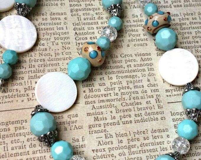 lampwork bead and pearl necklace, chunky mother of pearl necklace, elegant style blue and white beaded necklace, beach inspired necklace