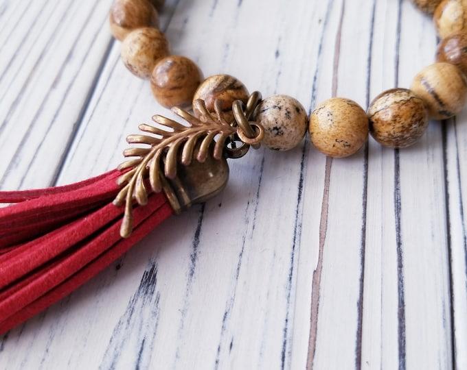 Picture Jasper Bead Bracelet, brown stone bracelet, Boho bead Bracelet with red tassel, Feather charm bracelet, Jasper Gemstone Bracelet