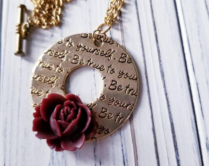 inspirational affirmation gold stamped pendant, red rose flower pendant necklace, large gold hoop pendant, inspirational gift for women,