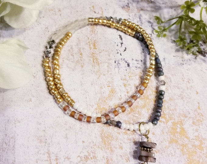 Stretch Bracelet with tusk charm, Delicate Beaded Seed Bead Necklace, Boho Chic Multi Wrap Bracelet, gold silver seed bead stretch necklace