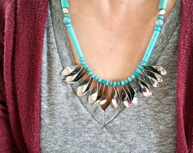 Boho Turquoise Fan Necklace, Tribal Silver Fringe Necklace, Rustic Statement Piece Bib Necklace, Unique Turquoise and silver bead necklace