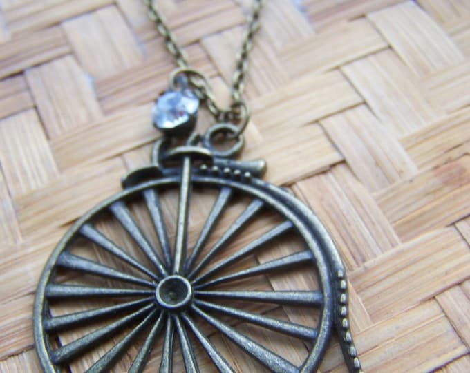 Steampunk Bike Necklace, Steampunk jewelry, retro bike charm pendant, brass bicycle pendant, gift for the bicyclist, minimalist necklace