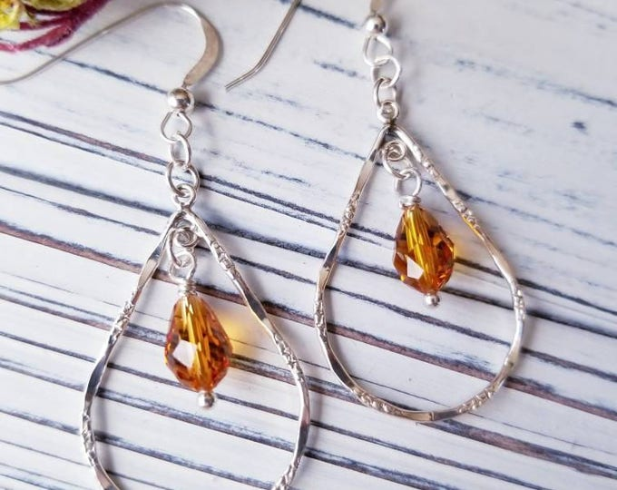 Swarovski dangle earrings, minimalist silver tear drop hoop earrings, amber crystal drop earrings, delicate silver and crystal hoop earrings