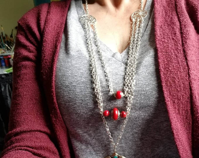 Long Silver Tibetan Boho Bead Necklace, Red Tribal bead pendant necklace, long layering southwestern necklace, Turquoise and coral necklace