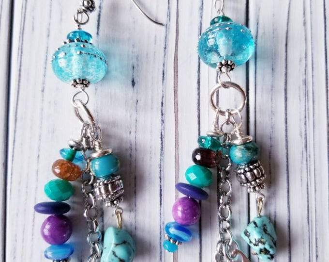 Long blue beaded earrings, dangle beaded earrings, lampwork bead earrings, turquoise beaded earrings, donna millard, boho beaded earrings