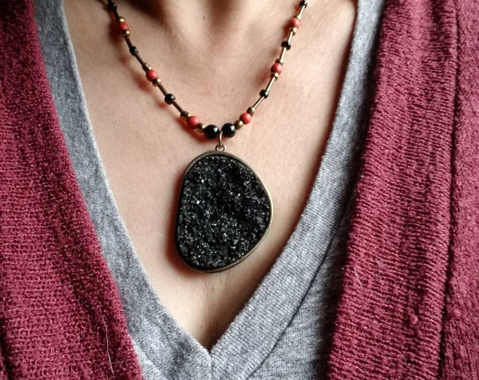 Boho bead necklace, black druzy necklace, black and red beaded necklace, gift for her, large black pendant necklace