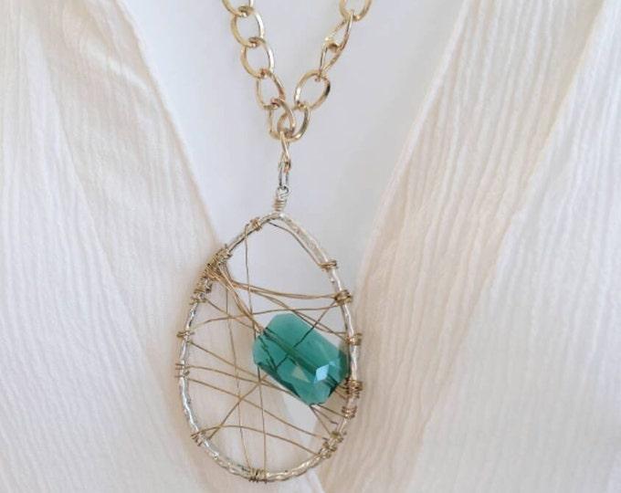 Wire wrapped pendant, long wire wrapped pendant, dream catcher pendant, long boho necklace, boho necklace, long gold necklace