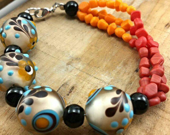 Glass bead boho bracelet, women's bracelet, multi color bracelet, red bracelet, orange bracelet, boho bead bracelet, colorful bracelet