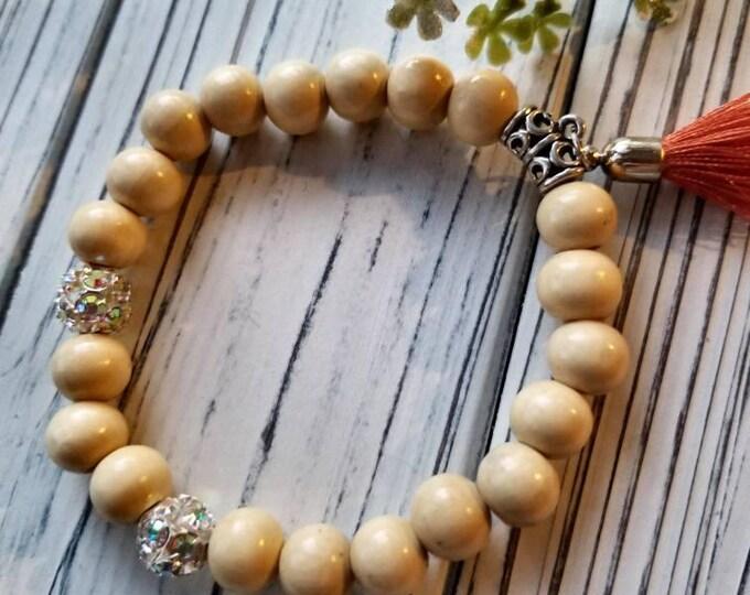 Boho bead bracelet with orange tassel, tassel bracelets, rhinestone bead bracelets, yoga bracelets, stacking bracelets, wooden bead bracelet