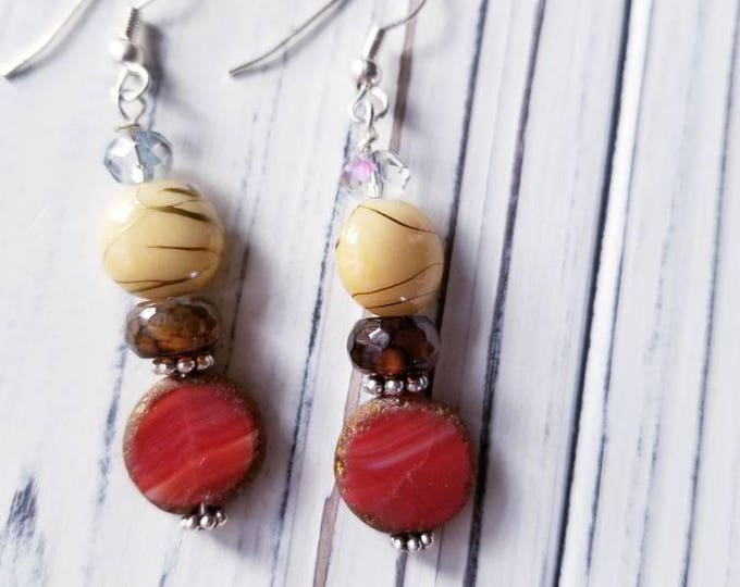 Long boho beaded earrings, red rustic bead earrings, everyday earrings, beige and red dangle earrings, elegant gift for under 20