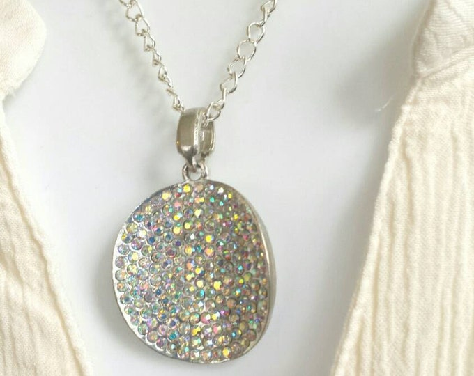 Large round pendant silver necklace, rhinestone pendant necklace, round rhinestone pendant, statement piece pendant, minimalist pendant