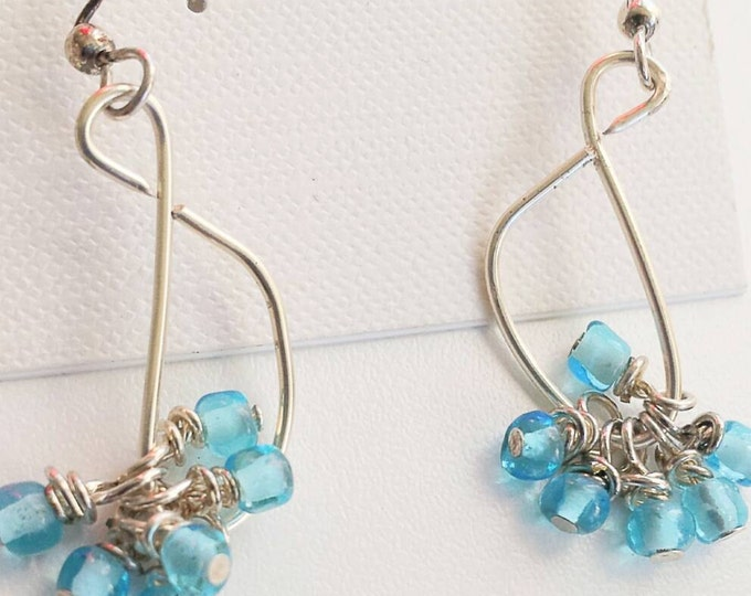 Dangle beaded earrings, blue beaded earrings, boho bead earrings, dangle teal blue earrings, seed bead earrings, silver hoop earrings