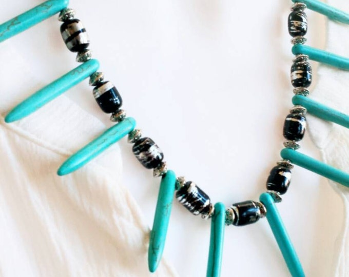 Boho turquoise fan necklace, statement piece turquoise spike necklace, unique tribal turquoise bead necklace, black and turquoise necklace