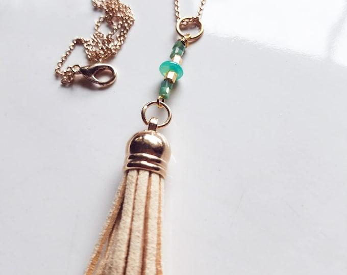 Gold Boho Tassel Pendant Necklace, Gold boho necklace, boho minimalist necklace, Beige tassel pendant necklace, boho beaded necklace