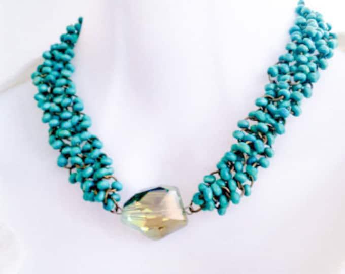 Turquoise boho bead choker necklace, turquoise blue wooden strand necklace, chunky choker crystal necklace, multiple strand beaded necklace