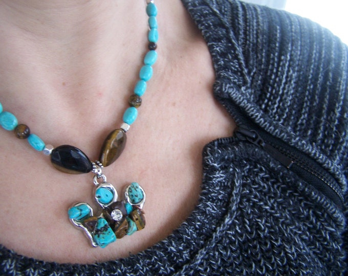 Turquoise boho bead crown necklace, southwestern stone necklace, tiger eye and turquoise necklace, rustic gemstone necklace, statement piece