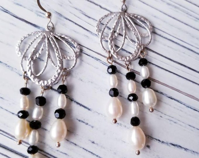 Long black crystal and pearl earrings, black and white dangle earrings, elegant chandelier earrings, long dangle black crystal earrings