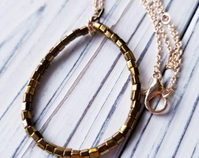 Oval shaped seed bead pendant, Bronze hoop beaded pendant, minimalist everyday jewelry, simple beaded bronze pendant, teardrop bead pendant