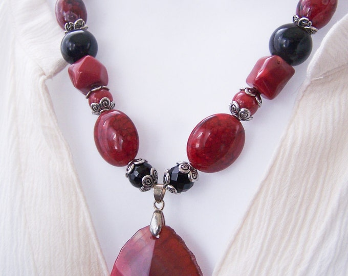 long red agate boho beaded necklace, southwest red jasper long layering necklace, boho long red coral necklace, bohemian red stone necklace