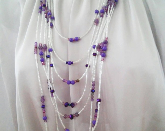 Purple Multi Strand Crystal Necklace, Statement Piece Bead Necklace, 8 strand white and purple necklace, long glass and seed bead necklace