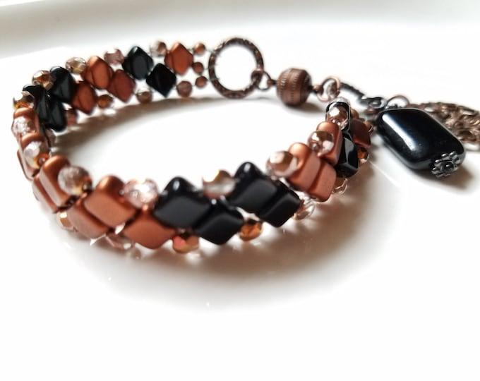 Black beadwoven cuff bracelet, unique black and gold beadwork bracelet, boho czech glass and copper bead bracelet, handmade gift for women