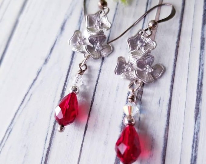Elegant dangle red crystal earrings, silver flower earrings, perfect bridal wedding earrings, long silver and red earrings, gift for her