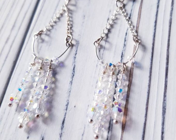 Swarovski Crystal chandelier earrings, wedding crystal earrings, bridal earrings, long crystal earrings, dangle crystal earrings