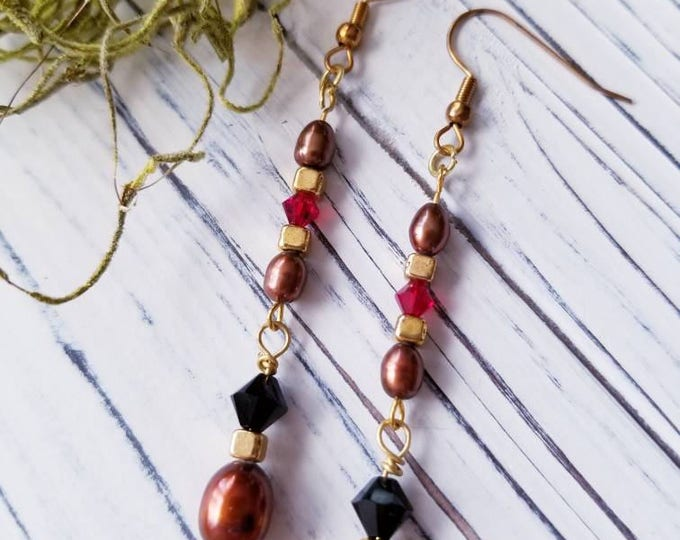 Dangle boho beaded earrings, Earthy Brown Long Earrings, long Freshwater Pearl Earrings, long dangle brown Pearl Earrings