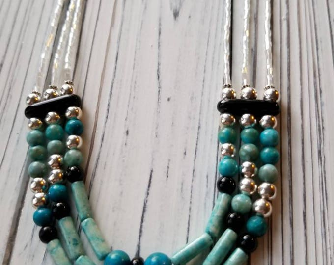 Boho turquoise and black bead bib necklace, boho beaded necklace, statement piece tribal turquoise necklace, summer fashion necklace