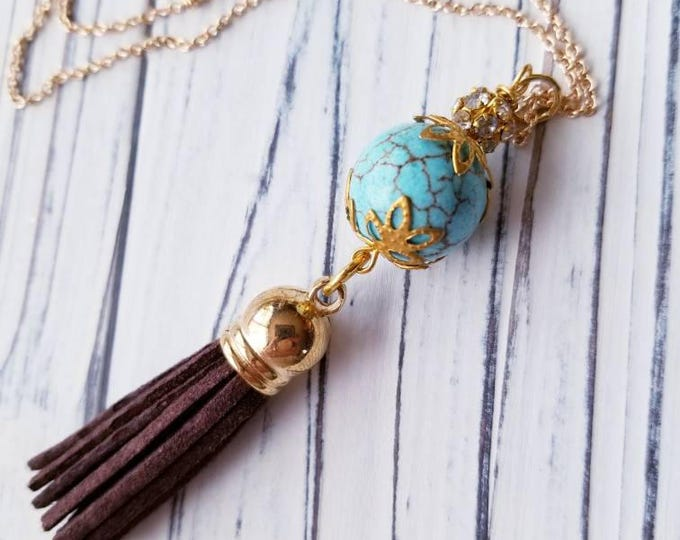 Boho tassel pendant necklace, brown tassel pendant on gold chain, turquoise pendant tassel necklace, gold boho tassel pendant necklace