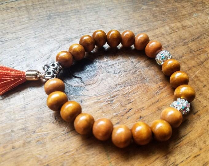 Boho bead bracelet with bright tassel, brown bead bracelet, stretch bead bracelet, rhinestone bead bracelet, yoga bracelet, wooden bracelet