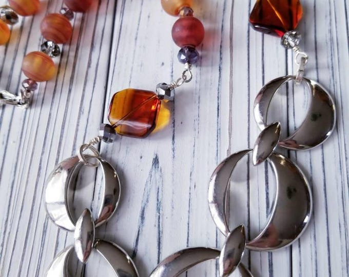 Chunky Amber hematite necklace, silver statement piece necklace, Silver chunky Chain Necklace, Boho bead necklace, chunky silver necklace