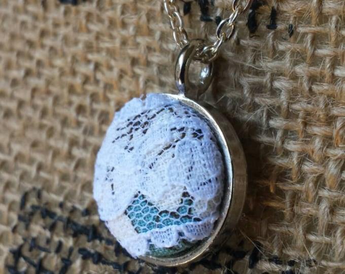blue fabric button pendant, minimalist pendant, romantic lace button pendant, everyday pendant necklace, dainty fabric button pendant