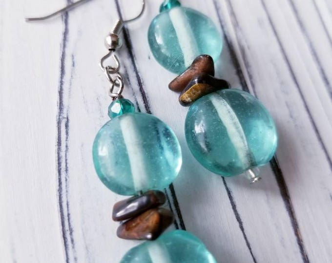 boho bead earrings, Glass earrings, teal glass earrings, long glass earrings, blue glass earrings, boho bead earrings, dangle glass earrings