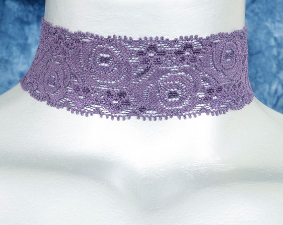 Purple Rose Stretchy Elastic Lace Choker Necklace