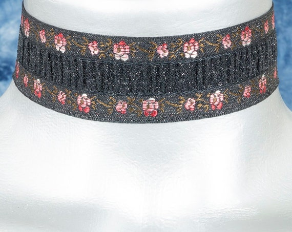 Shimmering Black with Red Rose Satin Ribbon Choker Necklace