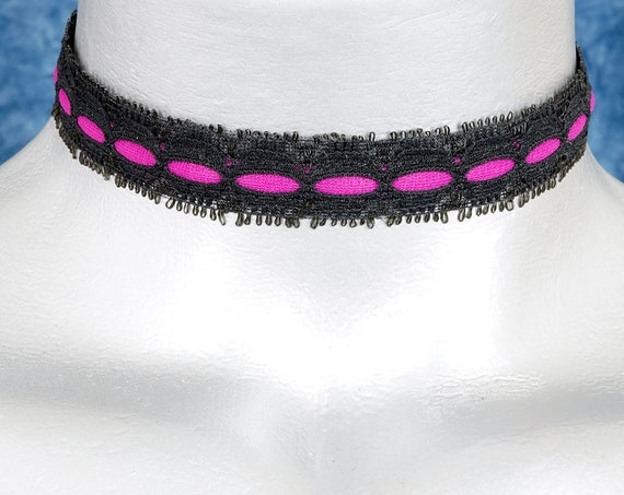 Purple and Black Saucy Vampire Lace Choker Necklace