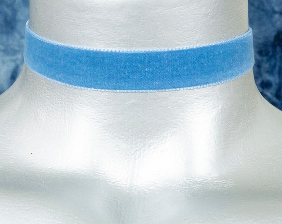 Sky Blue Velvet Ribbon Choker Necklace (16mm)