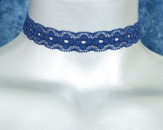 Dark Navy Blue Stretchy Elastic Picot Lace Choker Necklace