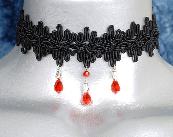 Gothic Red Crystal Black Lace Ribbon Choker Necklace